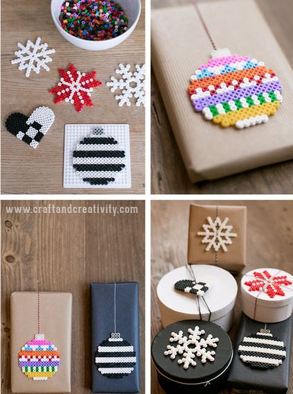 What a cute way to decorate Christmas presents. I'll be buying a big bag of perler beads this year!