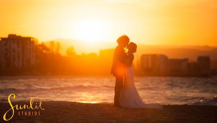 Wedding sunset photo at Snapper Rocks on the Gold Coast.