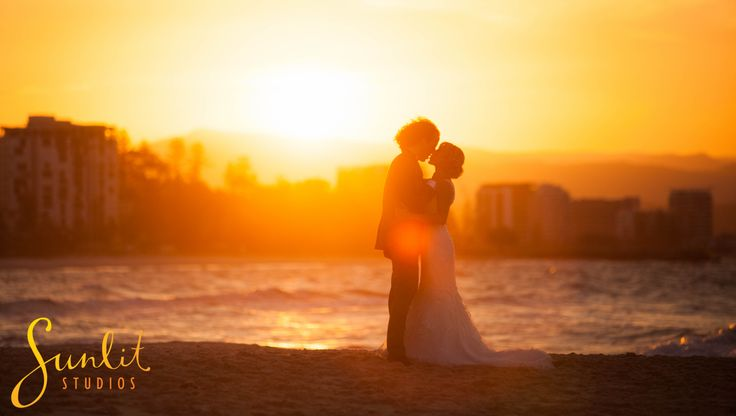 Wedding sunset photo at Snapper Rocks on the Gold Coast.