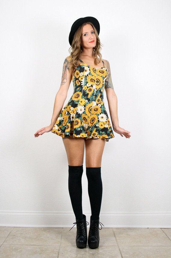7dbe0e6850b9 Vintage Sunflower Print Romper 90s XS S Grunge Romper Daisy Print Playsuit  Skater Skirt Bandage .