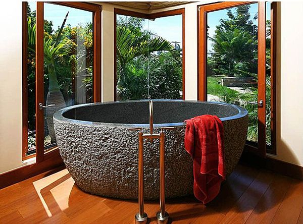 soaking tub in La Jolla, CA, is carved from solid granite and weighs one ton