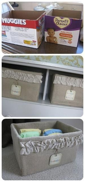 Transform an ugly cardboard box into a useful and elegant burlap storage option. For my besties baby!!!! by bernadette