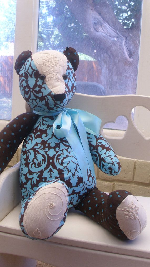Beautiful handmade teddy bear turquoise and by JillyJamesDesigns, $45.00