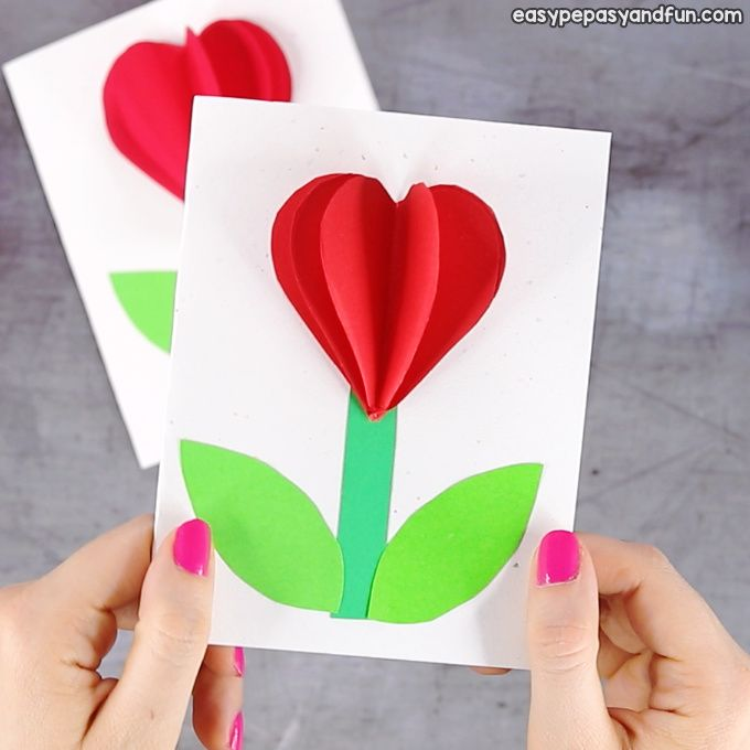 3d Heart Flower Card With Flower Template Valentines And Mother S Day Craft Idea Valentine S Day Crafts For Kids Valentine Crafts Flower Cards