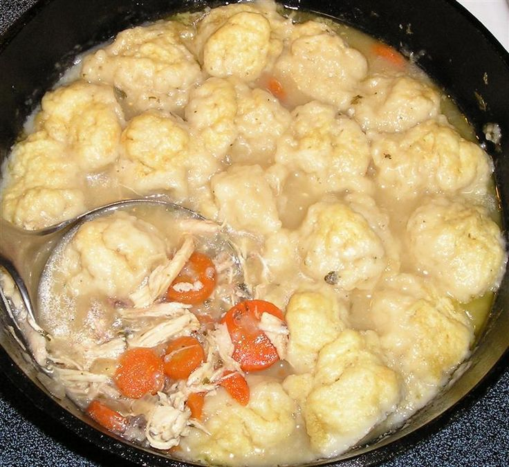 Chicken 'n dumplings!  I don't think I've ever made them myself, but I LOVE them. =)