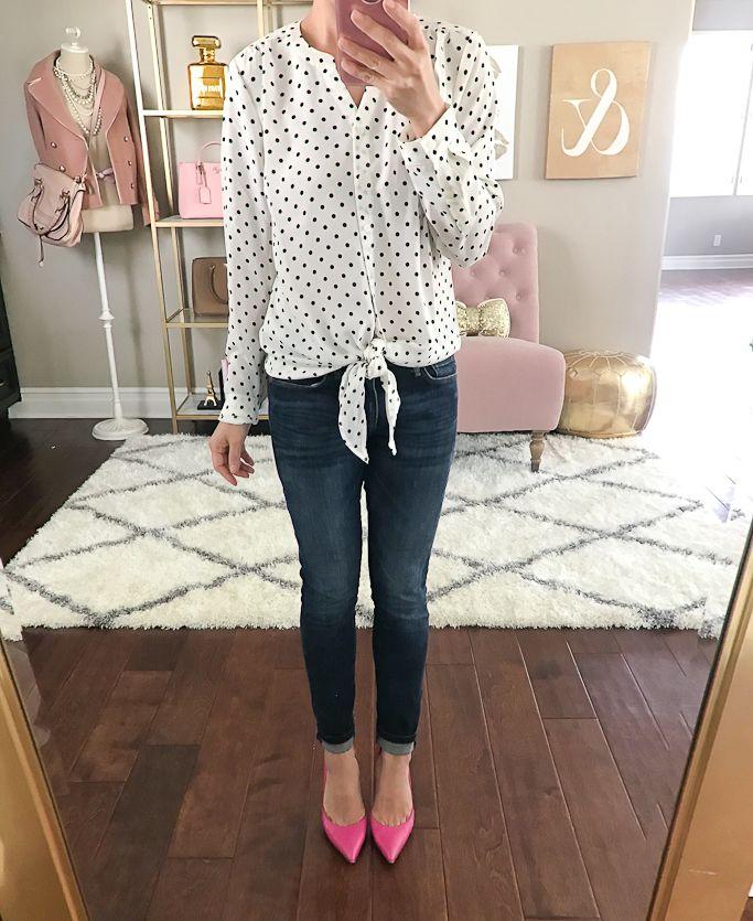 Banana Republic ankle jeans, Kate Spade lottie pink pumps,