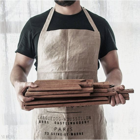 handmade linen apron, 100% pre-washed flax, grain sac, Sac de Moulin, french, country kitchen accessories, unisex, variable