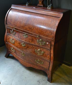 An Early 19th Century Dutch Burr Walnut Cylindrical Bureau