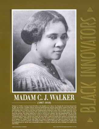 America's first female cosmetics mogul and self-made millionairess: Madam CJ Walker