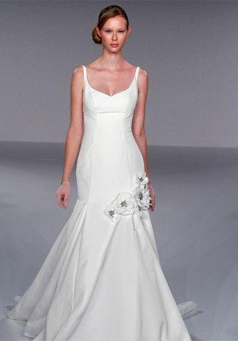 Priscilla Of Boston Style JL202 Trumpet With Flowers And Straps Wedding Dress | Nearly Newlywed