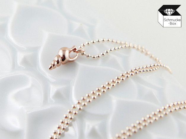 Ketten kurz - ♥ Kleine Muschel - Kette roségoldfarben - ein Designerstück von Schmucke-Box bei DaWanda