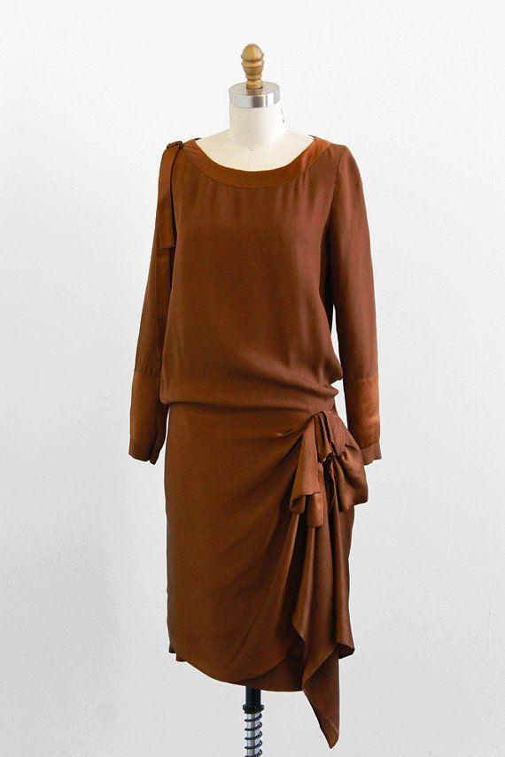vintage 1920s brown silk Gastsby flapper dress   vintage dress   #1920s