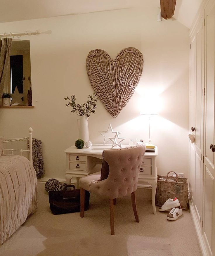A country home...guest bedroom ideas. Extra large wicker wall heart Greenery Welcome Inviting Make a house a home West Barn Interiors