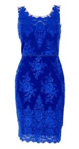 Embroidered Lace Cocktail Dress-Blue