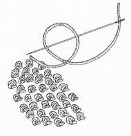 """The so-called """"Chinese Knot"""" used to fill large areas, sometimes called the forbidden stitch along with a variety of other knots"""