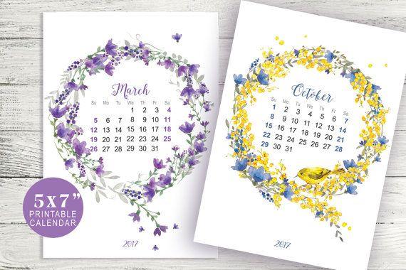 5x7 wreath flower calendar, flower watercolor, painting flower, watercolor flower wreath calendar, pocket calendar, desk watercolor calendar