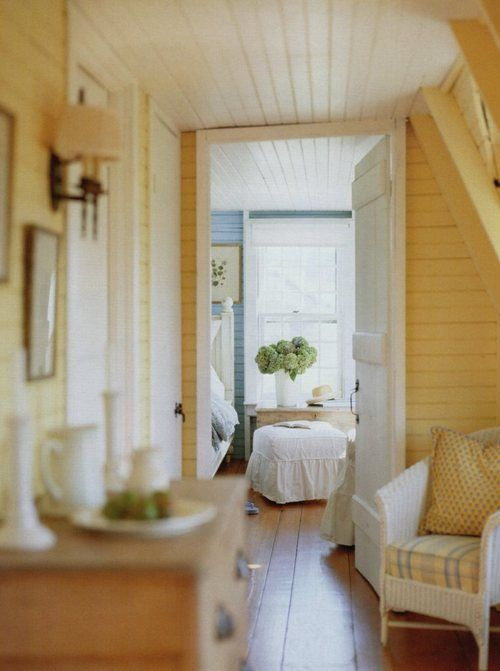 Tongue and groove: Yellow Rooms, Warm Color, Lakes House, Yellow Wall, Bedrooms Design, Attic Rooms, Beaches Living, Woods Ceilings, Bedrooms Wall