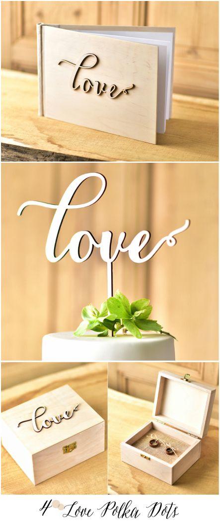 LOVE wooden wedding set – guest book, cake topper , ring bearer box 4lovepolkadots #weddingideas #wooden #love #weddingset #guestbook #caketopper #ringbox