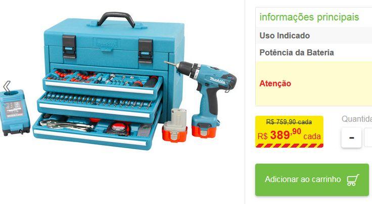 Kit Parafusadeira e Furadeira 3/8 96V 6261DWPETC 127V (110V) Makita << R$ 38990 >>