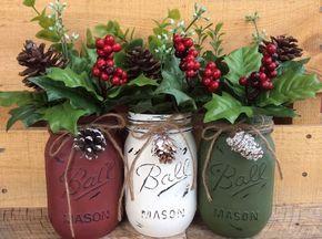 Painted Mason Jars. Christmas Decor. Vase. Home Decor. Holiday Decor. Rustic Decor. Christmas Jars. Gifts. by WineCountryAccents on Etsy https://www.etsy.com/listing/252579700/painted-mason-jars-christmas-decor-vase: