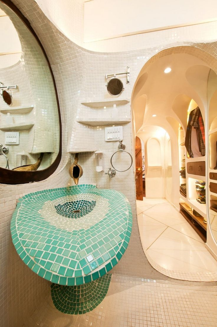 Organic house interior as bathroom design among unique bathroom vanity furniture with blue mosaic tile ideas