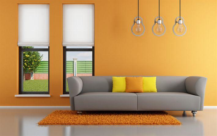 Download wallpapers modern design, 4k, hallway, orange room, bulb lamps, gray sofa, modern apartment, interior idea