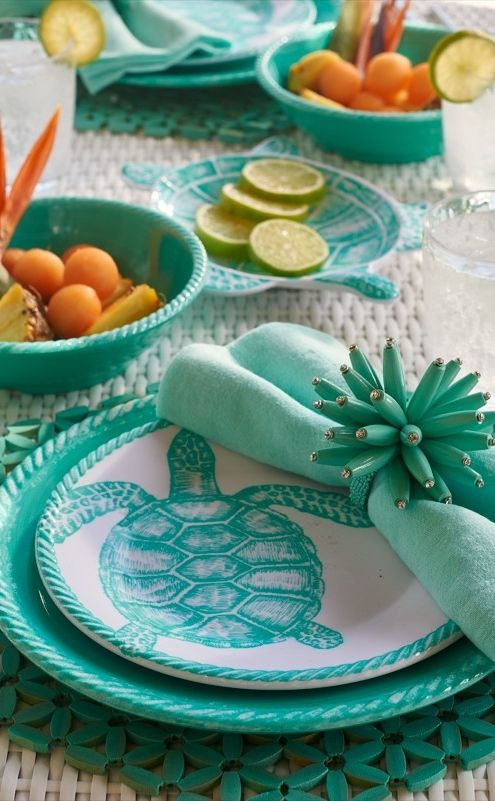 Set A Relaxed Tone For Outdoor Dining With The Calming Colors And Creatures  Of The Sea