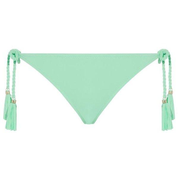 Lazul Nubia Bikini Bottoms ($110) ❤ liked on Polyvore featuring swimwear, bikinis, bikini bottoms, swim, swim swimwear, side tie bikini bottom, strap bikini, beaded bikini and green bikini bottom