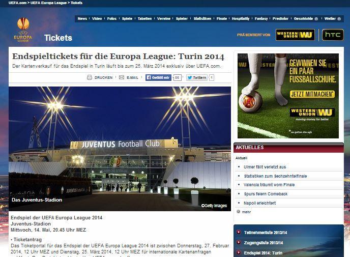 Verkaufsphase für das UEFA Europa League Finale 2014 in Turin gestartet | Ticket-Infos auf Tixxradar.de