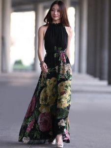 Negro plisado vestido largo de mujer sin mangas de Gasa Floral