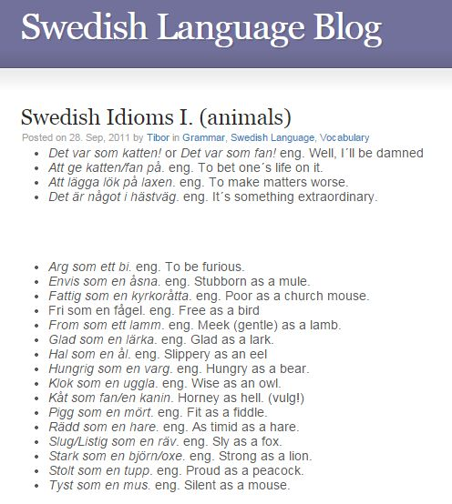 Swedish Idioms - animals