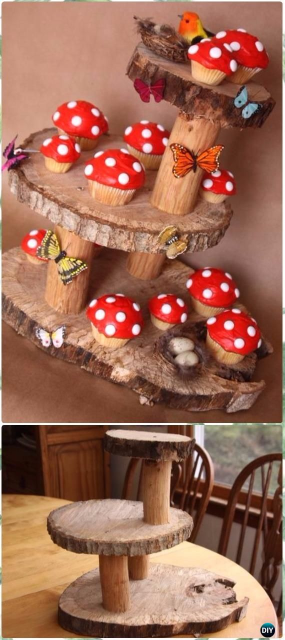 DIY Fairy Cake StandInstructions - Raw Wood Logs and Stumps DIY Ideas Projects