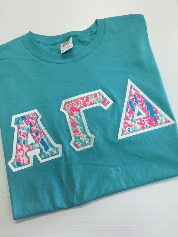 Aqua Lilly Greek Letter Shirt by GreekThreads on Etsy