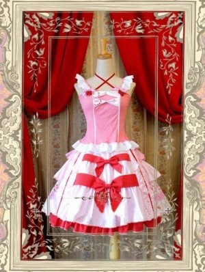 Sweet Pink and White Strawberry Printed Rococo Lolita Dress