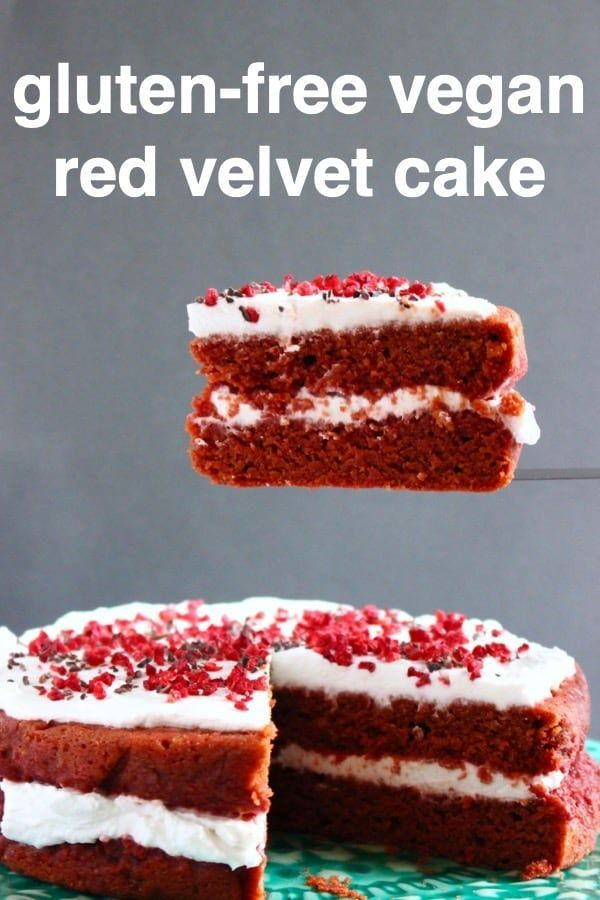 This Gluten Free Vegan Red Velvet Cake With Cream Cheese Frosting