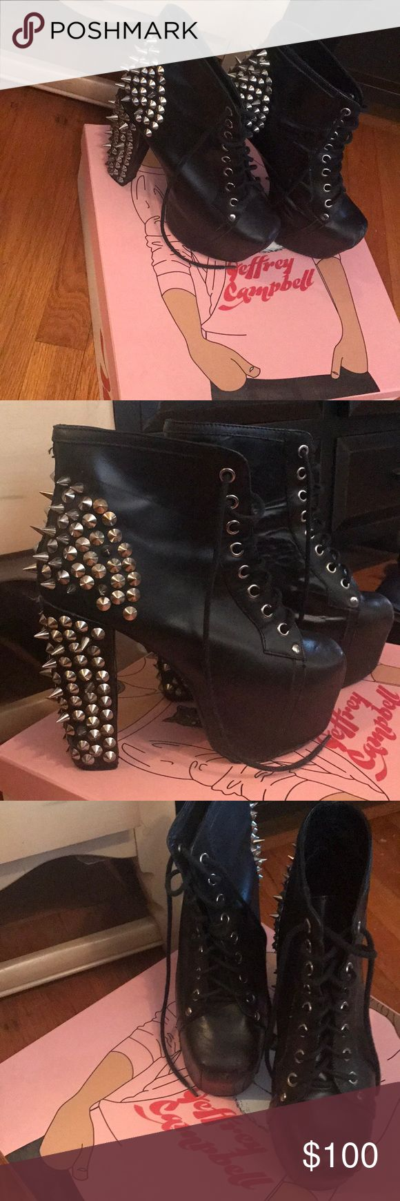 Jeffery Campbell Lita Spiked Heels! Jeffery Campbell black and silver high spiked heels!! Worn a handful of times, some scuffing on the toes (leather cleaner would make them look great) some spikes missing but comes with extra spikes to fix!! Also comes with box! Jeffrey Campbell Shoes Heels