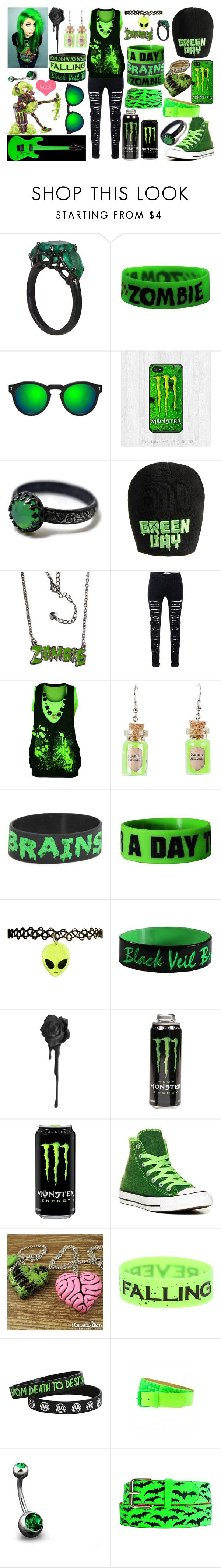 """Black And Green"" by legacy-sinister ❤ liked on Polyvore featuring Jack Vartanian, Goodie Two Sleeves, Illesteva, WearAll, Converse, Ardene, Bling Jewelry and Novelty"