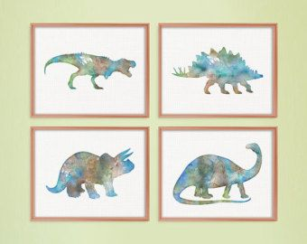 Watercolor Dinosaur, Set of 4 Prints, Dinosaur Wall Art, Dinosaur Art Print, Kids Room Art, Childrens Art, Nursery Decor, Baby Boy Nursery