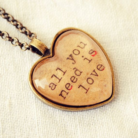 Heart Necklace featuring All You Need is by DearDelilahHandmade