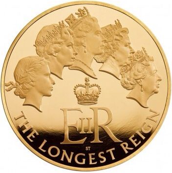 The Longest Reigning Monarch 2015 UK gold proof Kilo coin.