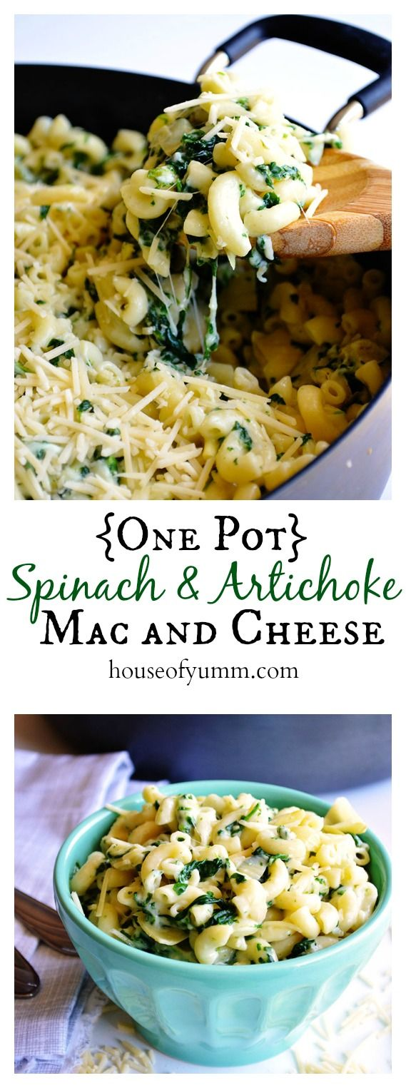 {One Pot} Spinach & Artichoke Mac and Cheese.  A one dish cheesy pasta dish perfect for a family dinner.