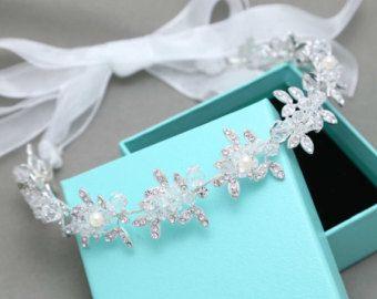 Pearl Crystal Tiara zilver draad hoofdband van NoviaBellaTS op Etsy
