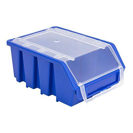 20 Stück Stapelboxen Sichtlagerkästen Sortierbox mit Deckel Größe 2 blau Ergobox Plus Kunststoff Lagerkiste