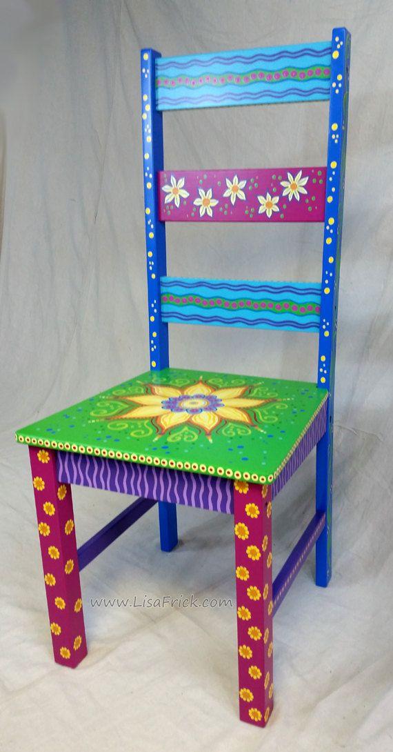 SOLD sample of CUSTOM WORK-Custom Painted Side Chairs von LisaFrick