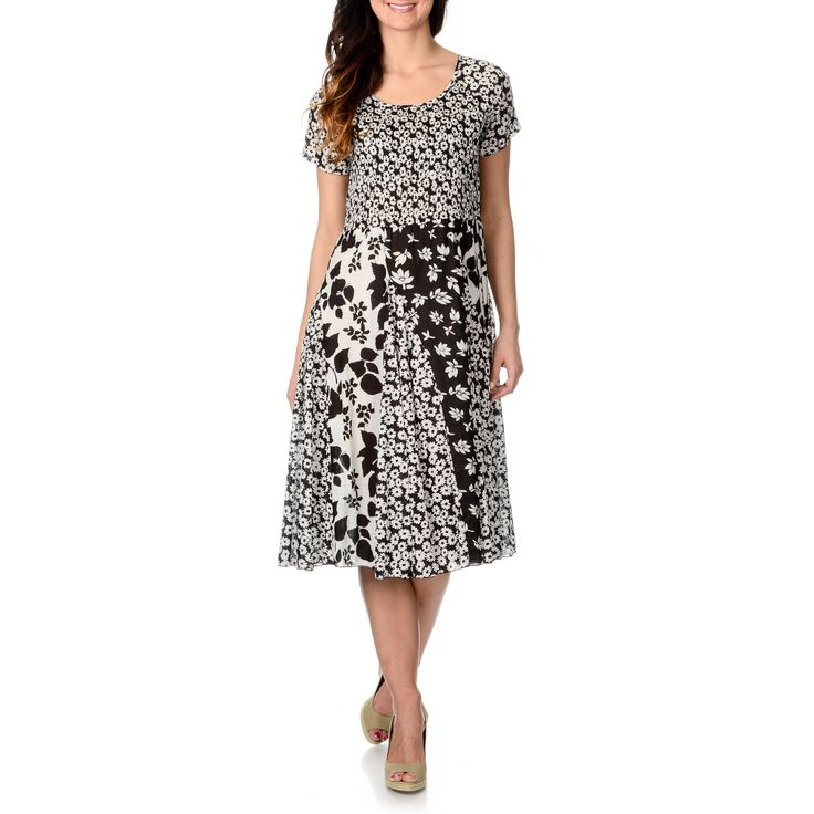 La Cera Women's and White Multi Puckered Dress