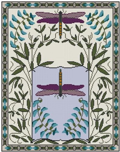 Dragonflies and Sweet Peas cross stitch pattern PDF by Whoopicat, $8.00