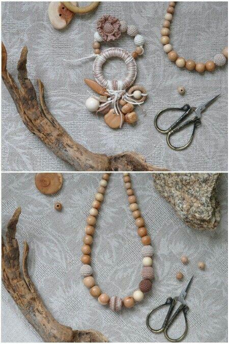 Грызунок, прорезыватель для зубов, слингобусы, эко-бусы. Маме и малышу. Wooden beads, nursing necklace, teething toy.