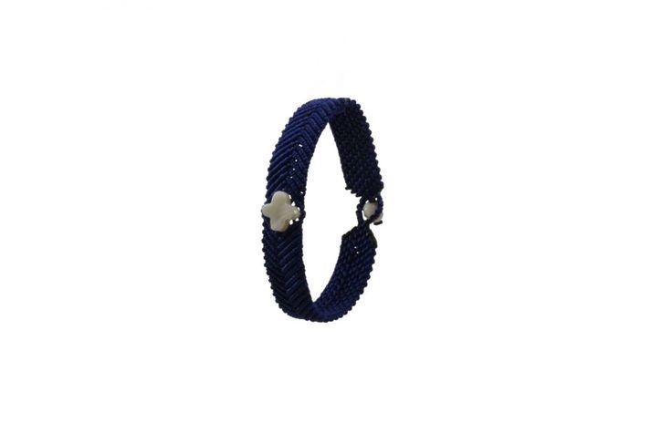 Ανδρικό πλεκτό βραχιόλι με φίλντισι - Macrame bracelet for men with mother of pearl
