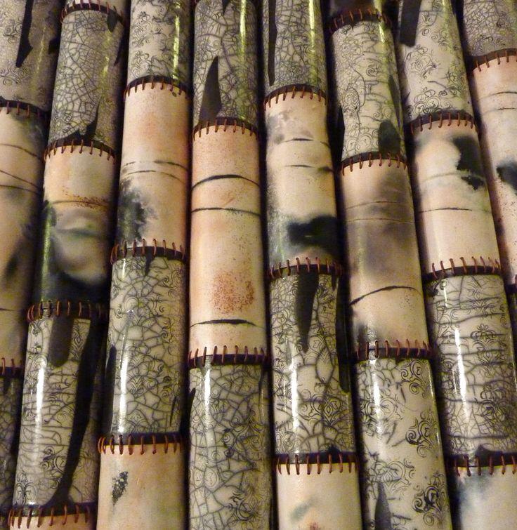 Wall pieces, raku & smoke firing- Leather cord seam