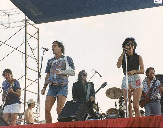 Kingfish at Ranch Rock '86: Matthew Kelly, Bob Weir, John Cipollina, Anna Rizzo, Steve Evans, and Dave Perper (obscured)